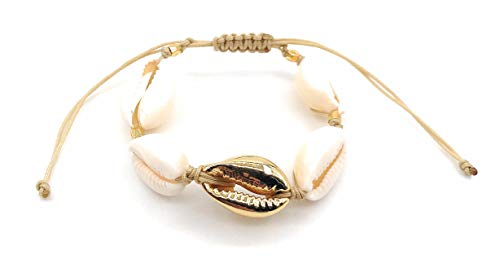 LESLIE BOULES Fashion Bracelet Natural Cowrie Shell Gold Plated Bead Novelty Jewelry
