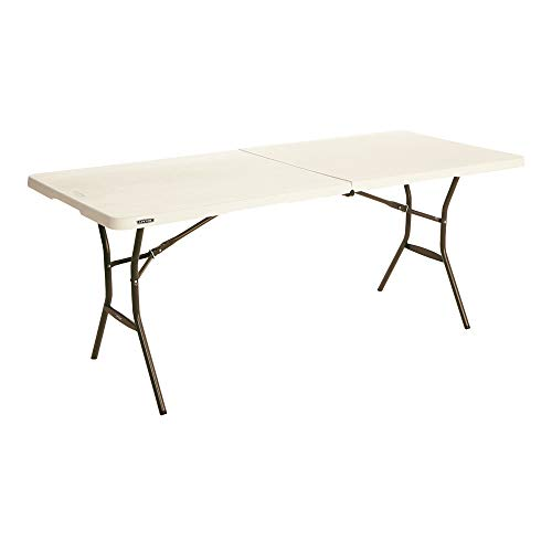 Lifetime 80753 Fold in Half Light Commercial Table, 6 Feet Almond
