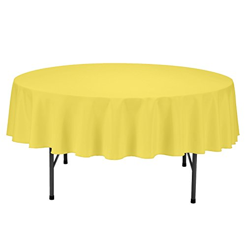 Table Covers Restaurant (VEEYOO Tablecloth 70 inch Round Solid Polyester Table Cover for Wedding Restaurant Party Picnic Indoor Outdoor Use, Dark Yellow)