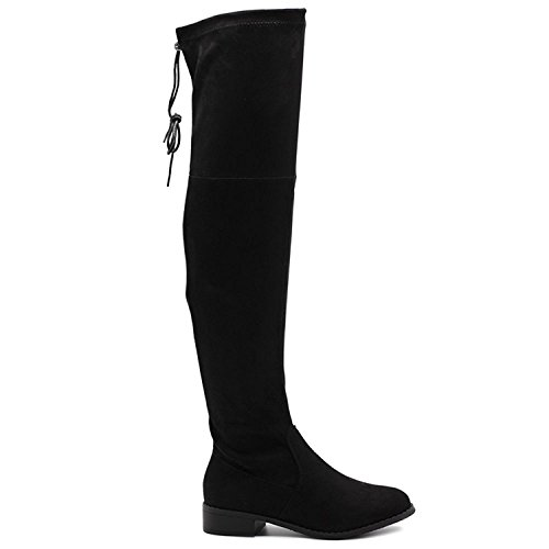 - Charles Albert Women's Sexy Stretch Faux Suede Over The Knee Thigh High Heel Boots (8, Black)