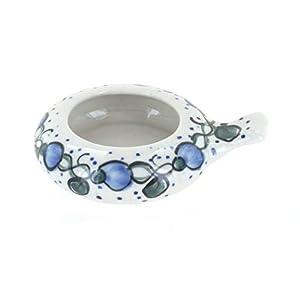 Blue Rose Polish Pottery Geranium Candle Holder