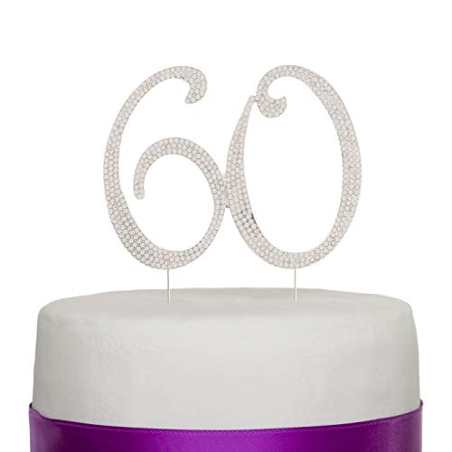 60 Cake Topper for 60th Birthday or Anniversary - Gold Rhinestone Party Supplies & Decoration Ideas (Silver)