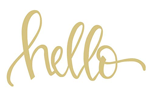 Word Hello Cutout Unfinished Wood Hi Hey Everyday Door Hanger MDF Shaped Canvas Style 2 (6