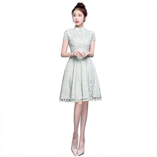 Carriemeow Women and Girls Short Sleeve Stand Collar Cheongsam Dress Evening Prom Dress Green (Color : Green, Size : L) ()