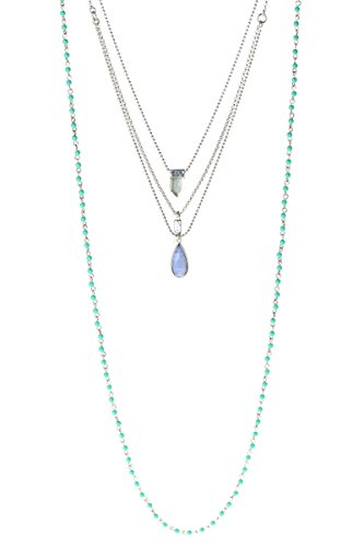 Lucky Brand Silver and Turquoise Three Layer Necklace and Earrings Set (Set Layer Necklace)