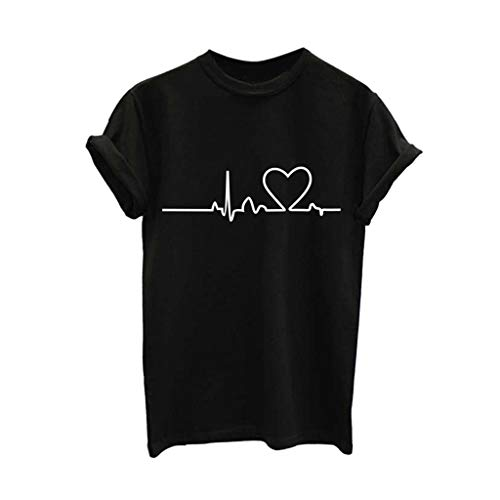 (Mnyycxen Tee Shirts for Women Short Sleeve Heart Print Funny Cute Graphic Tee Shirt Black)