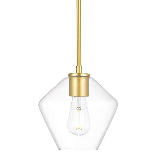Macaria Modern Hanging Pendant Light   Satin Brass Pendant Lighting for Kitchen Island, Angled Clear Glass Shade LL-P633-3SB