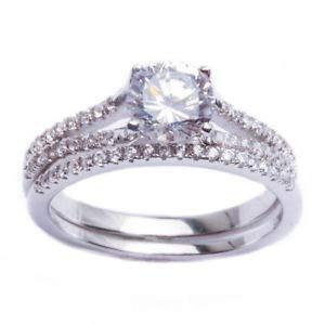 Amazon.com: Precioso juego de anillo de plata de ley 925 con ...