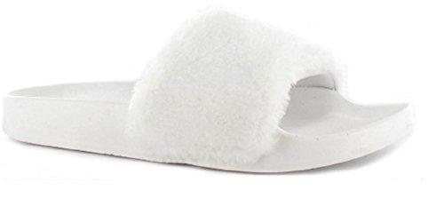 Ella Tito Faux Fur Mule Sliders Sandals Rubber Flip Flops 3-8 White Gcfjp