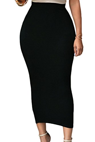 Pinkyee Solid Black High-Waisted Bodycon Maxi Skirt Black M (Long Tight Skirt)