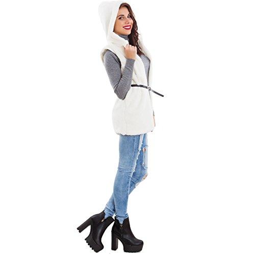 Femme Bianco Toocool Manteau Manche Sans qHxCUxwSF