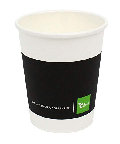 - Green Life Paper Hot Coffee Cup,Disposable Espresso/Tea Cup Black White Eco-friendly 100% Blodegradable & Compostable, 50 Count (7 Oz)