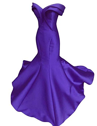 Scarisee Women's Mermaid/Trumpet Off Shoulder Evening Dresses Formal Prom Celebrity Party Gowns Purple 02