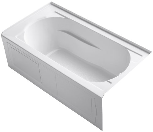 KOHLER 1184-RAW-0 Devonshire 60-Inch x 32-Inch Alcove Bath with Bask Heated Surface, Integral Apron, Tile Flange, and Right-Hand Drain, White -