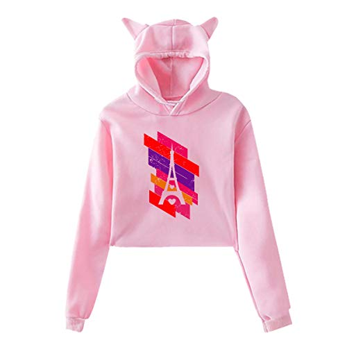 (Cat Ear Hoodie Sweater for Girls Paris Eiffel Tower (2) Fashion Exposed Navel Hooded Pullover)