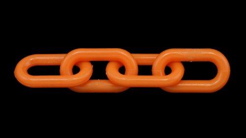 1 1/2'' (6 MM) Plastic Chain in Orange, 500 feet Length