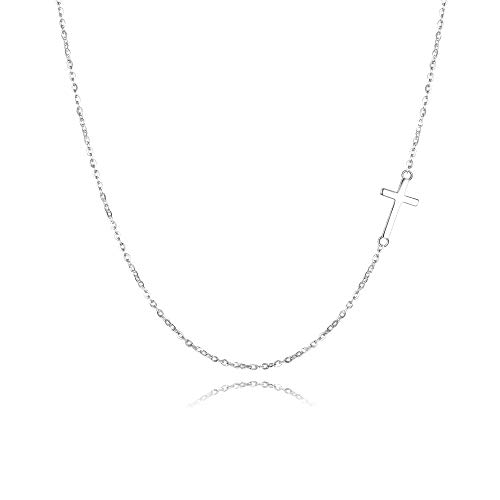 Cross Necklace Sideways - EVER FAITH 925 Sterling Silver Simple Church Sideways Cross Pendant Choker Necklace for Women, Girls