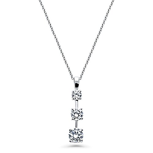 BERRICLE Rhodium Plated Sterling Silver Round Cubic Zirconia CZ 3-Stone Graduated Wedding Pendant Necklace ()