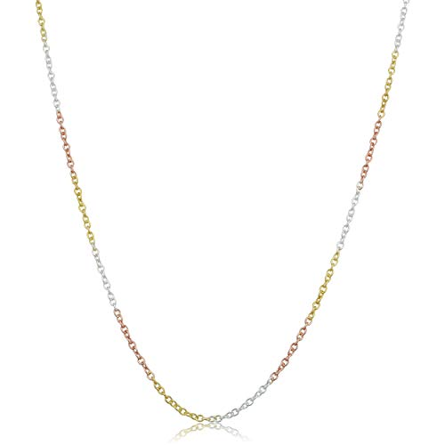 Kooljewelry Tri-color Sterling Silver 1round Cable Chain Necklace (1.5 mm, 18 inch) ()