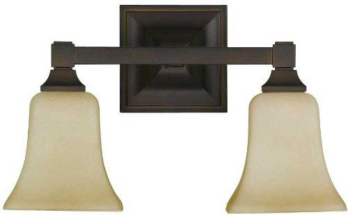 Murray Feiss MF VS12402 American Foursquare 2 Light Bathroom Vanity Light, Oil Rubbed Bronze