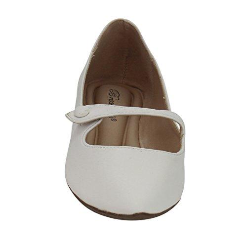 Balletto Punta Breckelles Piatto - Mary Jane Flat - Slip On Flat - Gi91 In Similpelle Bianca