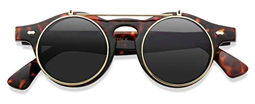 Flip up Cyber Steampunk Round Circle Retro Sunglasses (Tortoise Frame/Gold Rimmed/Black Lens, ()