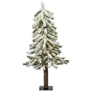 Vickerman Pre-Lit Flocked Alpine Tree with 50 Clear Dura-Lit Lights, 3-Feet, Flocked White on Green