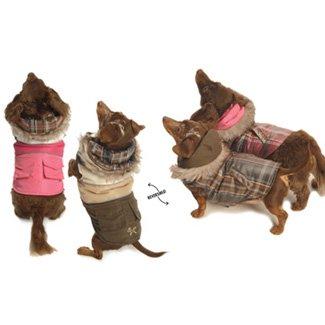New York Dog Reversible Winter Puffy Ski Coat – Brown Plaid, Medium, My Pet Supplies
