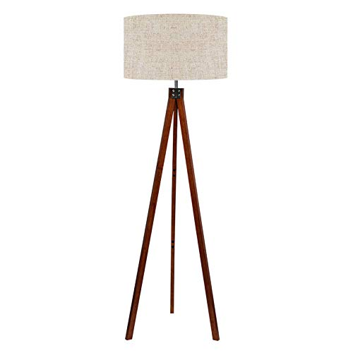 LEPOWER Wood Tripod Floor Lamp, Mid Century Standing Lamp, Modern Design Studying Light for Living Room, Bedroom, Study…