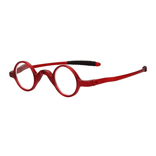 Agstum TR90 Small Round Eyeglasses Retro Reading Glasses Readers 32-30-135 (Red, 4.00)