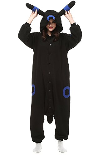 (Xiqupjs Umbreon Onesies Animal Pajamas Cosplay Costume One Piece Halloween Costume Women Teens (XL, Blue)