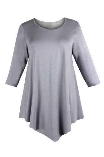 Curvylicious Women's Plus Size 3/4 Sleeve Round Neck Tunic Top 16 Light Grey