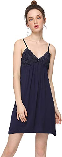 GYS Women's Bamboo Chemise Nightgown, Navy, Large