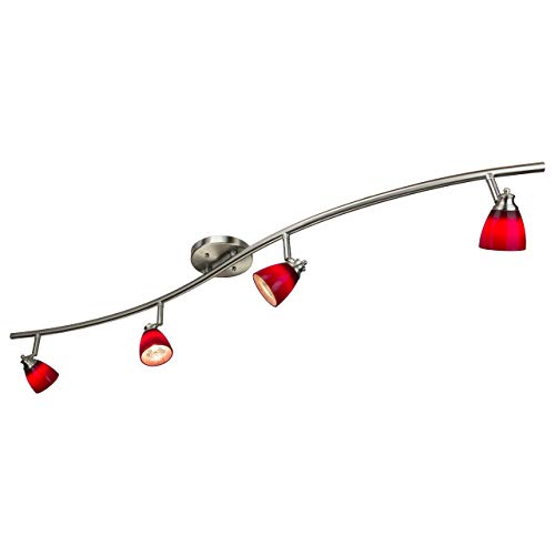 Direct-Lighting 4 Light Adjustable Track Light, Brushed Steel Finish, Red Glass Shade, Ready to Install, Bulb Included, D268-44C-BS-BRED (Renewed)