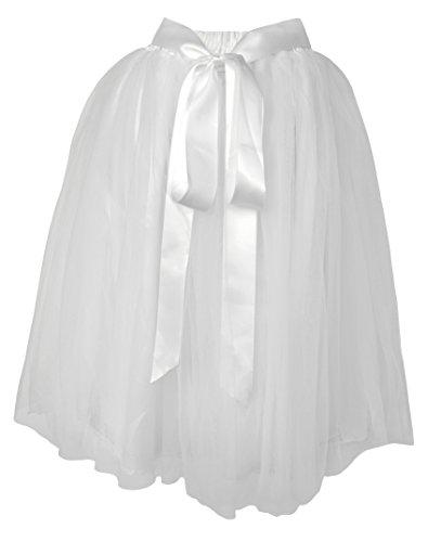 Dancina White Tutu A Line Layered Tulle Skirt [Sticker XXL] Size Plus 12-24 (Tutu Dresses For Plus Size Women)