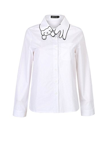 Persun Women's White Cat Pattern Collar Button Down Cotton Long Sleeve Shirt 31XLKrTrcDL
