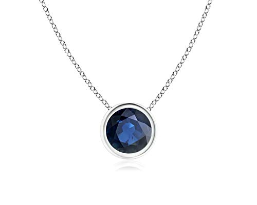 Bezel Set Created Blue Sapphire Pendant Necklace in 14k White Gold (7mm), 18