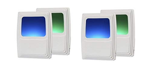 Dark Green Night Light - Amertac Amerelle Plug-In Forever-Glo LED Night Light - Includes 2 Blue and 2 Green Night Lights - Always-On Glow, Energy Efficient - White Finish - Ideal for Dark Rooms and Spaces at Home