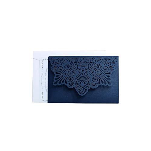 (10Pcs Lace Wedding Invitations Cards Laser Cut Tri-Fold Business Invitation Cards Party Decoration,Blue Suit)