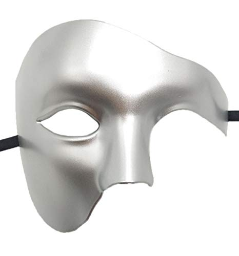 Coolwife Masquerade Mask Vintage Phantom of The Opera One Eyed Half Face Costume (Silver) for $<!--$9.99-->