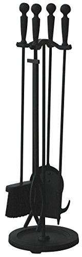 (Uniflame 5 Piece Brushed Black Finish Fireset with Double Rods)