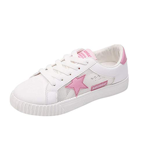 Women Ladies Fashion Lace Up Shoes,LuluZanm Round Toe Flat Star Sneakers Casual White Shoes for $<!--$11.13-->