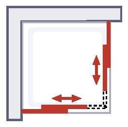 d/écor rayures horizontales verre de s/écurit/é Acc/ès d/'angle extensible avec portes de douche coulissantes 88 x 175 cm profil/és en alu nature 75