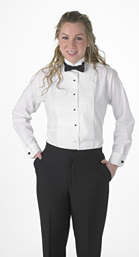 Tuxedo Front Blouse - Premium Women's Tuxedo Long Sleeve Shirt Wing-Tip Collar, with Bonus Black Bow Tie - Size 28