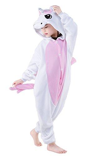 NEWCOSPLAY Childrens Pajamas Sleeping Wear Animal Onesies Cosplay Homewear (125#, Pink Unicorn) by NEWCOSPLAY (Image #4)