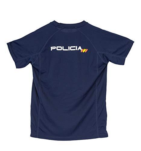 CNP Camiseta policia Nacional Tejido Tecnico para Entrenamiento oposiciones, Color Azul Marino con Bandera de españa, Disponible en Varias Tallas 2