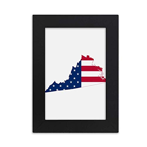 DIYthinker Virginia USA Map Stars Stripes Flag Shape Desktop Photo Frame Picture Black Art Painting 5x7 inch