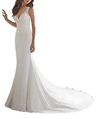 V Neck Classic Satin Sheath Wedding Dress Beaded Backless Lace Bridal Gowns