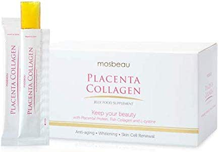 AUTHENTIC MOSBEAU PLACENTA COLLAGEN JELLY - ANTI-AGING & SKIN WHITENING FOOD tablets Fruity Mango Flavored Jelly Stick For Easy Beautiful & Healthy Skin