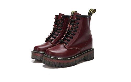 KUKI Stiefel, Damenschuhe, klassisch, europäischen und amerikanischen Stil, Leder, Martin Stiefel, wild, lässig, High-Top, Lederstiefel, wine red